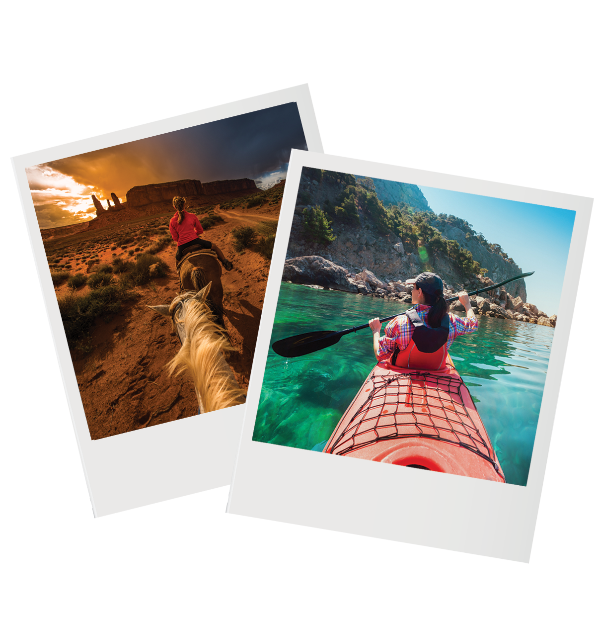 Polariods of kayaking and horseback riding