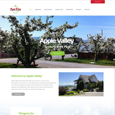 Apple Valley Orchard & RV Park website screen capture