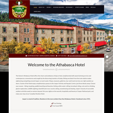 Athabasca Hotel website screen capture