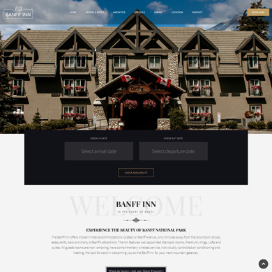 Banff Inn website screen capture