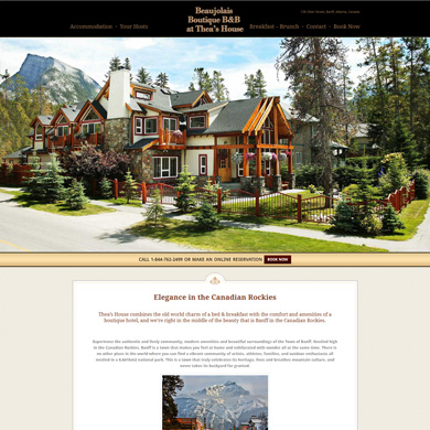Beaujolais Boutique B&B website screen capture