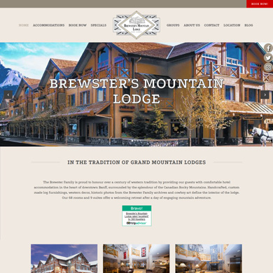 Brewster's Mountain Lodge website screen capture