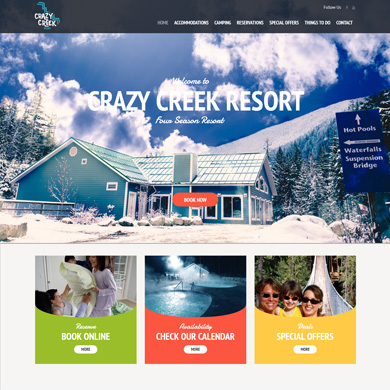 Creazy Creek Resort website screen capture