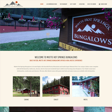 Miette Hote Springs Bungalow website screen capture