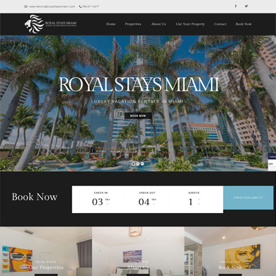 Royal Stays Miami website screen capture