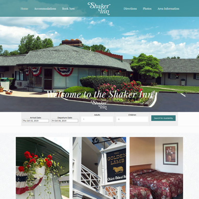 The Shaker Inn website screen capture