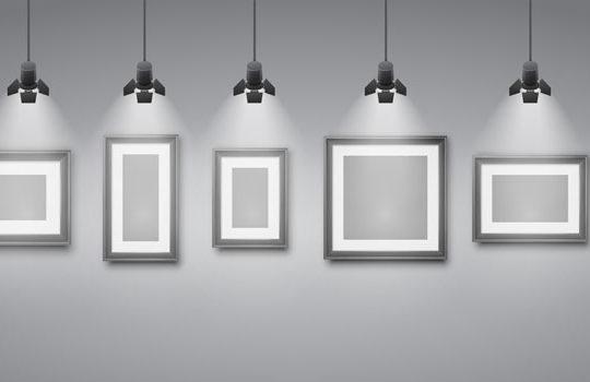 Gallery frames under the spotlight