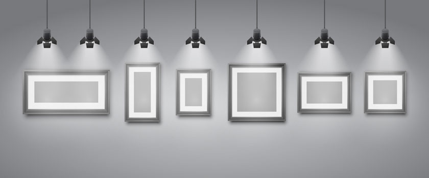 Gallery frames under the spotlight